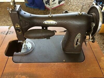 Antique White Sewing Machine Rotary Style In Cabinet Local Pick Up Only