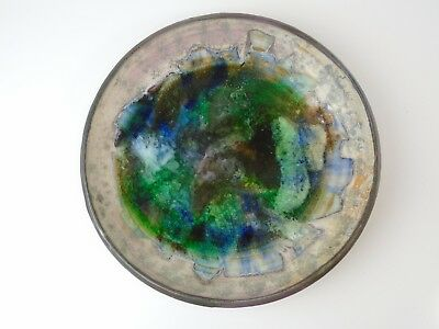 "14"" Glazed & Crazed Ceramic Clay Pottery Glass Bowl - Handmade Signed O'connell"