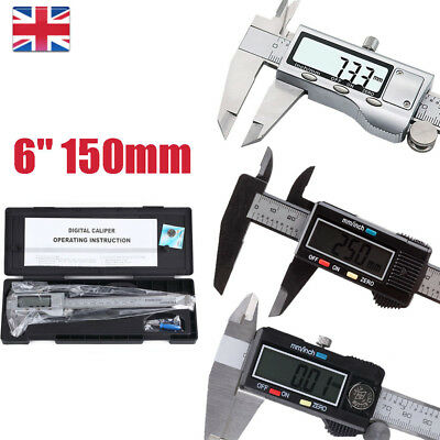"LCD 6"" 150mm Steel Sliding Caliper Vernier Measuring Gauge Depth Height Tool"