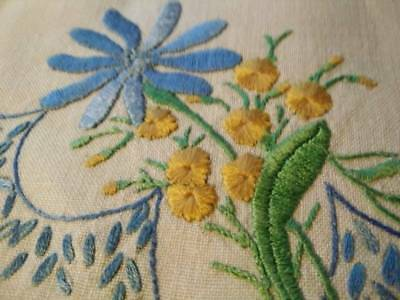 Vintage Hand embroidered Doily - Blue Daisy & Yellow flowers