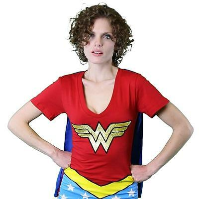 Wonder Woman Women's Caped V-Neck Costume T-Shirt Best for Geek Cosplay Top New