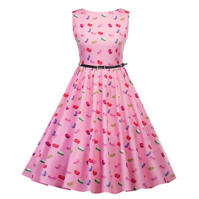 Retro Sleevless Swing 50s 60s pinup Prom Housewife Picnic Rockabilly Dress Pink