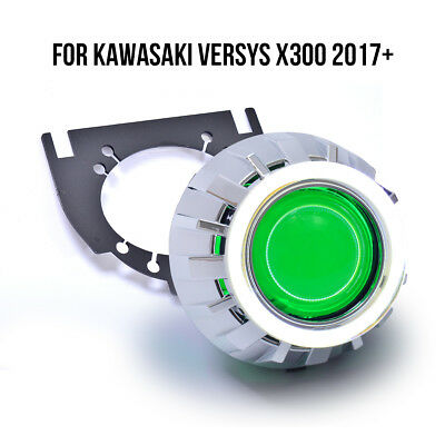 KT LED Angel Eye HID Projector Lens Kit for Kawasaki VERSYS X300 2017+ Green