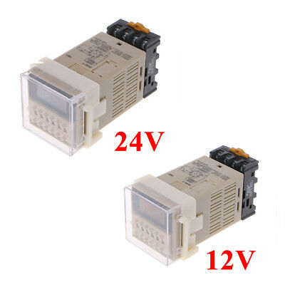12/24V AC/DC Multifunction Digital Timer Relay 8 Pins SPDT DH48S-S Repeat Cycle