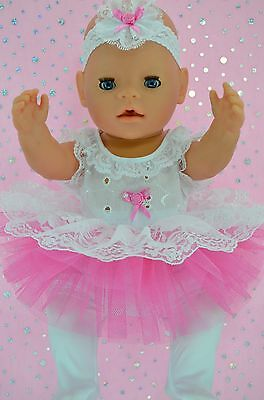 "Play n Wear Doll Clothes For 17"" Baby Born HOT PINK LACE TU TU~TIGHTS~HEADBAND"