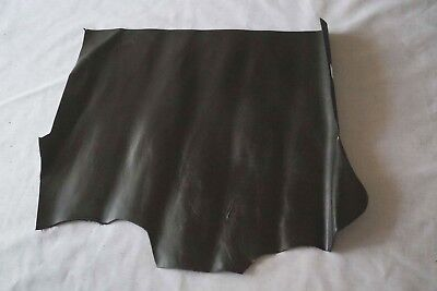 Black cowhide piece/remnant 55 x 40 cm Full grain leather