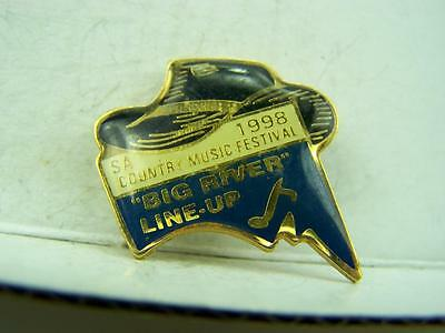 1998 Big River Line-up Country Music Festival pin back badge          1083