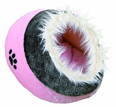 Trixie Minou Cuddly Cave Pink/Grey Cat Bed Soft Plush Cover Pet Kitten Pad