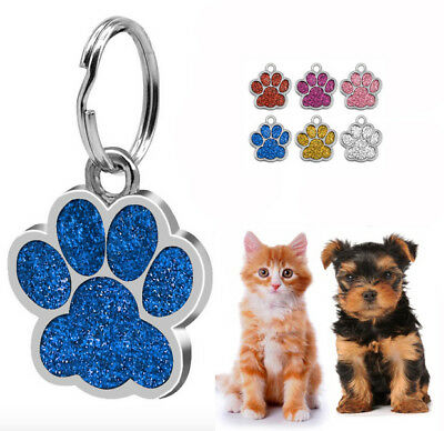 3 X Bling Paw Shape Dog Tags Pet Puppy Cat ID Tag Kitten Collar Tags