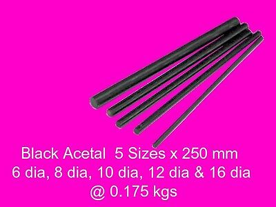 Acetal Black ( Delrin ) Combo 5 Sizes x 250 mm-Model Engineering Plastic Steam