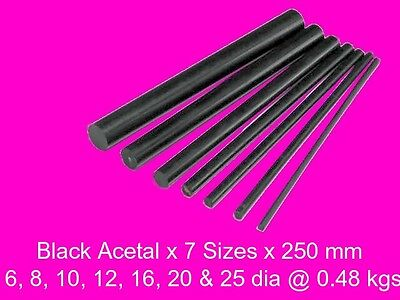 Acetal Black ( Delrin ) Combo 7 Sizes x 250 mm-Model Engineering Plastic Steam
