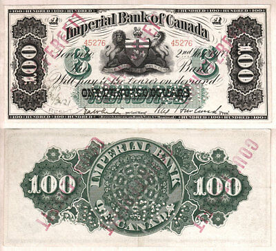 NO RESERVE AUCTION: 1917 $100 Imperial Bank of Canada, Charlton 375-16-24c EF/AU