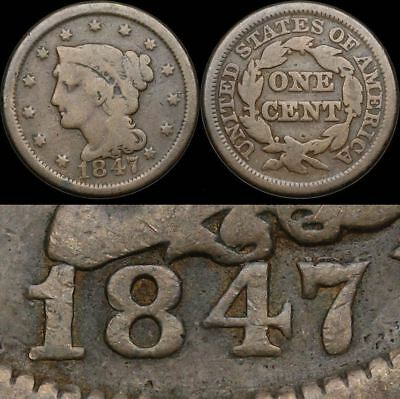 Braided Hair Large Cent, 1847/7, Large over small 7