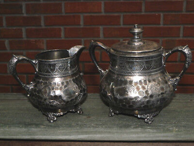 Antique Hammered Silverplate Creamer & Covered Sugar Bowl-EG Webster-1870s-1880s
