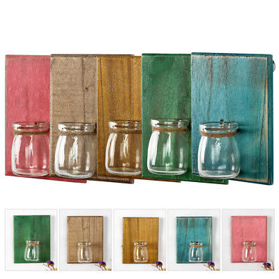 5X Wall Mounted Wooden Plaque Boards Glass Hydroponic Vase Flower Plant Pot Lot