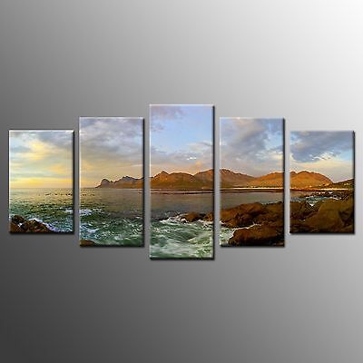 FRAMED Large Canvas Wall Art Home Room Decor Stretched Canvas Print Coast-5pcs