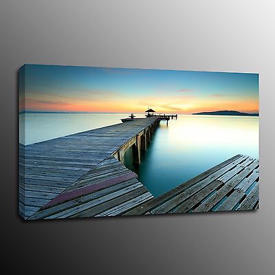 Landscape Sea The Pier Seaside Scenes Canvas Prints Wall Art Painting Pictures