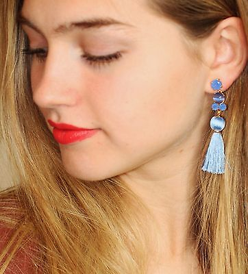 77bfd61271046 KATE SPADE IN the swing of things tassel earrings fringe BLUE jewels  chandelier