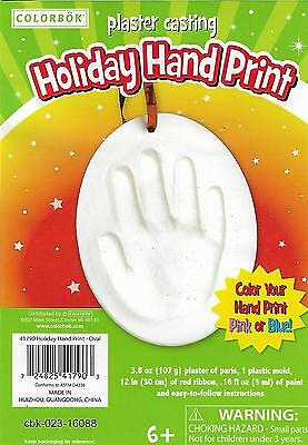 Baby Hand Print Christmas Ornament Plaster Mold Kit Boy or Girl HandPrint Oval z