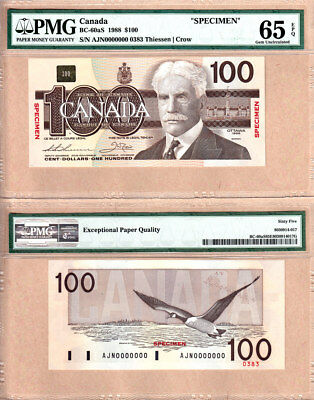 Rare $2 to $100 Specimen Set Bank of Canada Bird Series in PMG GEM UNC65 EPQ