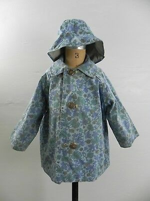 SU- Vintage 60s Girls Reversable Khaki & Blue Floral Raincoat Coat Jacket + Hat