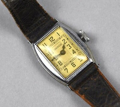 Vintage Dasco Men's Art Deco Stainless Steel Case Wind Up Watch FOR REPAIR PARTS