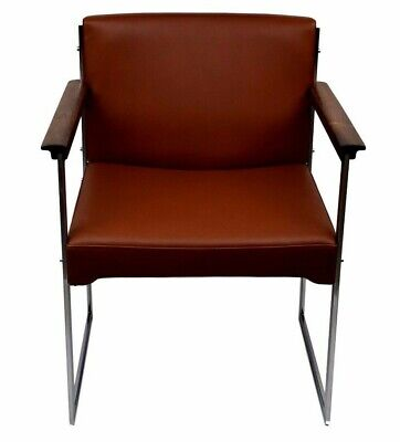 A rosewood/chrome metal armchair by Illum Wikkelsø, aniline leather upholstery