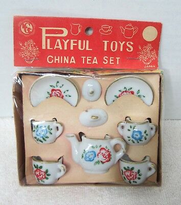 Antique Playful Toys China Tea Set in Great Christmas Box  9 Pieces  T58
