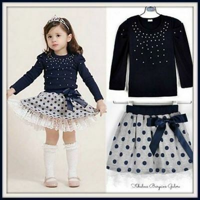 Baby Girls Toddler Polka Dot Children Autumn Party Casual Kids Summer Outfit Set