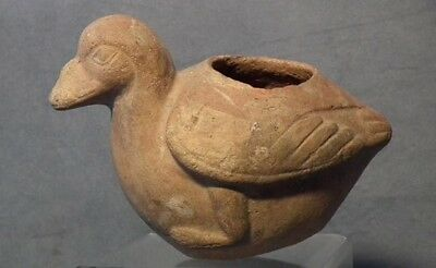 Antique Pre Columbian Moche Terracotta Duck Effigy Vessel Circa 400 AD to 900 AD