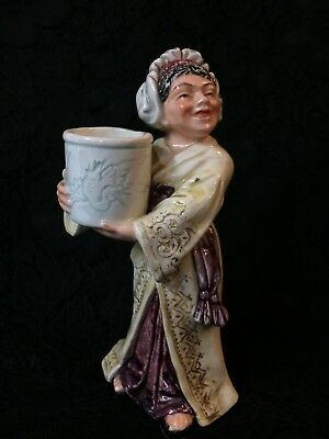 Majolica Figurine ~ Woman Holding Crock With Dragon ~ Wonderful Color & Unique!