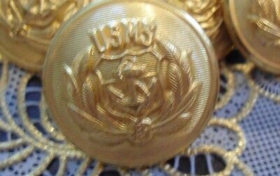 8 Wwii 1 In Usms Uniform  Buttons Maritime Service Gilt Metal Waterbury Button
