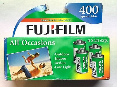 Fujifilm 400 Speed 24 Exposure 35 mm Film - 4 PACK - EXP. 4/18 or later - NIB