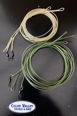 carp fluro leaders trans brown/green  weighted safe zone 1m 45lb choice cvtackle