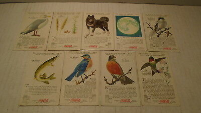 9 Different Coca Cola The World Of Nature Cards Birds Moon Dog Fish Coke