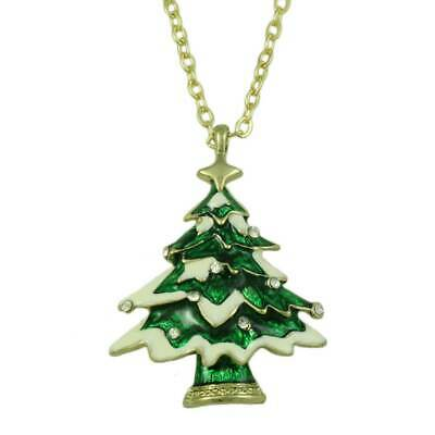 Green Enamel Christmas Tree with Snowy Branches Pendant with Chain - XN301A