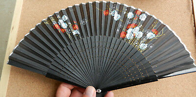 Chinese Japanese Floral Folding Hand Pocket Fan Black