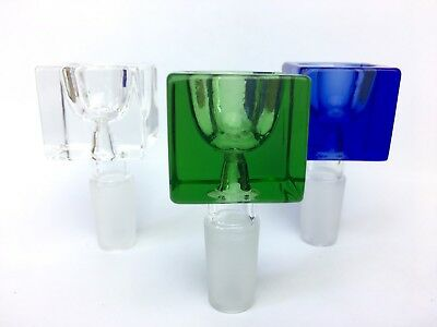 14mm / 18mm Male Glass Slide Bowl - Clear Blue Green - USA Fast Free Shipping