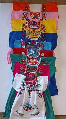 Mexican Girls kids Dress Embroidered with MultiColored Flowers Dress SZ 6M-4T