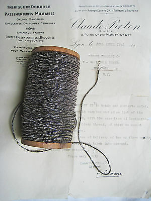 """4 yd Vintage/Antique French Dk Silve Metallic Beadette Cord Trim 1/16"""" Lampshade"""