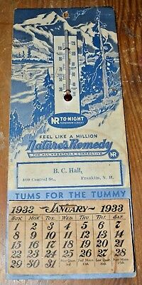 1933 B.C. Hall Natures Remedy NR Tonight Thermometer Tums Calendar