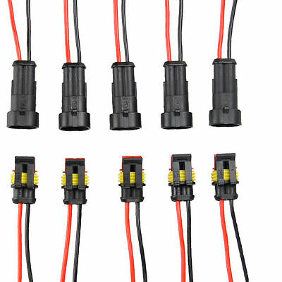 5x 2Pin Car Waterproof Electrical Connector Plug with Wire AWG Marine Black EP