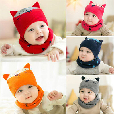 Baby Toddler Boys Girls Winter Beanie Warm Hat Hooded Scarf Earflap Knitted Cap