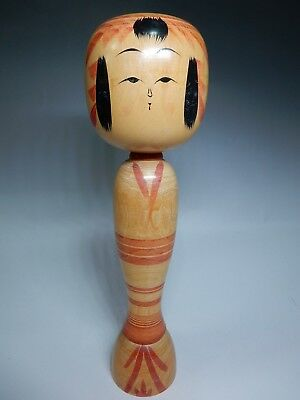 "VTG Japanese traditional Kokeshi Wooden Doll Lovely face H30.5cm 12"" 500g"