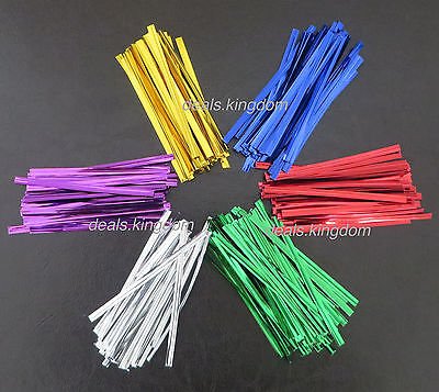 100 pcs Twist Ties Metallic for Cello Bags Party Gift Bags 8cm