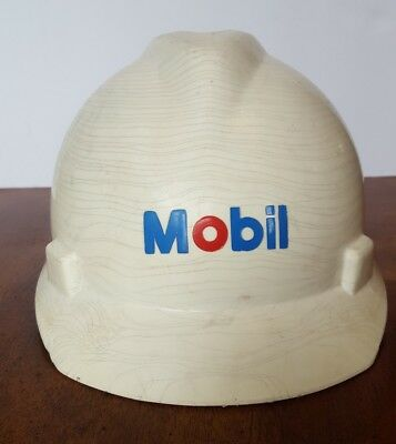 Vintage Mobil 1976 MSA Protective Hard Hat Advertising Gas and Oil
