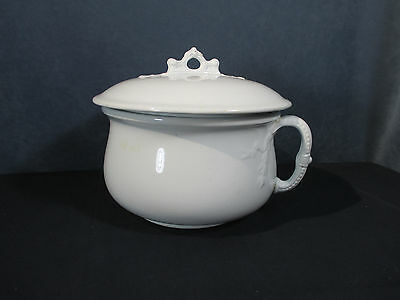 JG Meakin Ironstone Chamber Pot with Lid Handle White Antique Hanley England