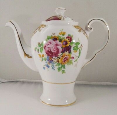Vintage Tuscan China Provence French Provincial Red Flowers Coffee Pot Teapot