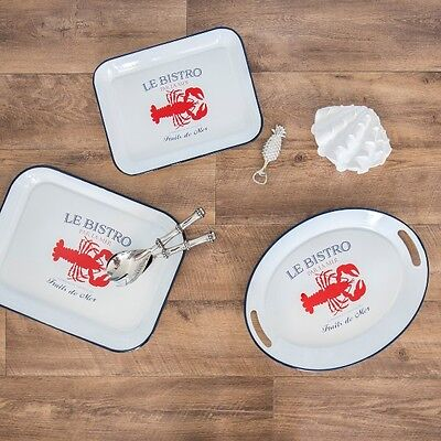 Hamptons Coastal Style Nautical Enamel Rectangle La Mer Tray Set of 2