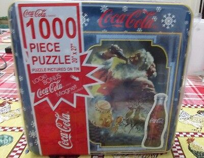 New in sealed tin coca-cola 1000 piece Christmas puzzle with free magnet